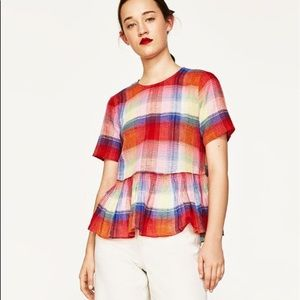Zara CHECKED BLOUSE WITH FRILL AND BOWS